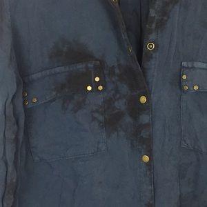 Garage Tops - GARAGE Snap Button Shirt Distressed Rocker Edgy XS